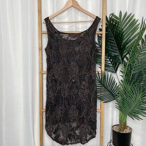 Motto Khaki Floral Lace Tunic Top 14-16